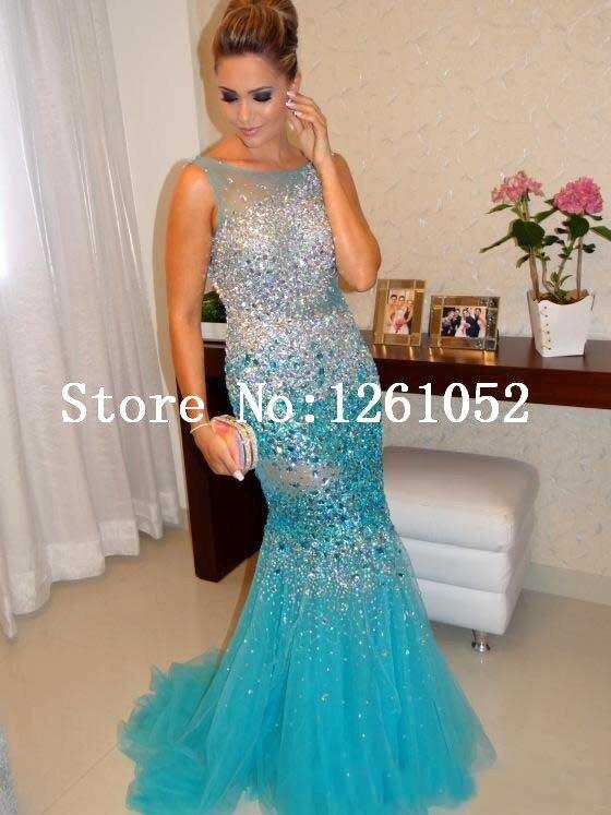 Popular Aqua Mermaid Trumpet Prom Dress-Buy Cheap Aqua Mermaid ...