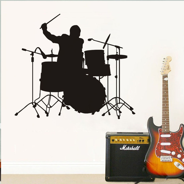 A band drummer beating drums wall stickers diy home decor black outline kids room wall decals
