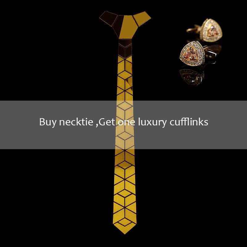 Glossy Gold Mirror Necktie Diamante Shape Slim Men Bling Accessory Wedding Night Club Singer DJ Fashion