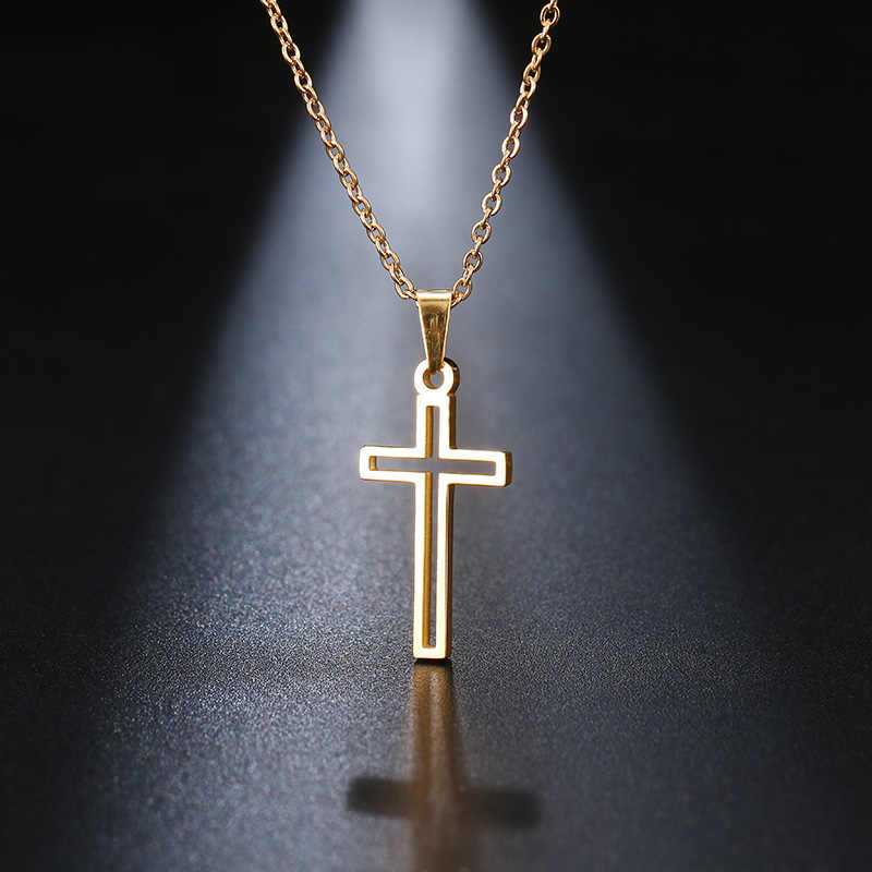 DOTIFI Stainless Steel Necklace For Women Lover's Gold And Silver Color Chain Cross Necklace Small Gold Cross Religious Jewelry