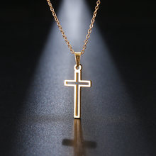 DOTIFI Stainless Steel Necklace For Women Lover's Gold And Silver Color Chain Cross Necklace Small Gold Cross Religious Jewelry(China)
