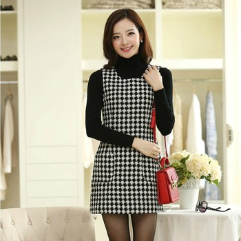 Autumn and winter dress women sleeveless pullover vest casual dresses houndstooth one-piece dress free shipping Платье