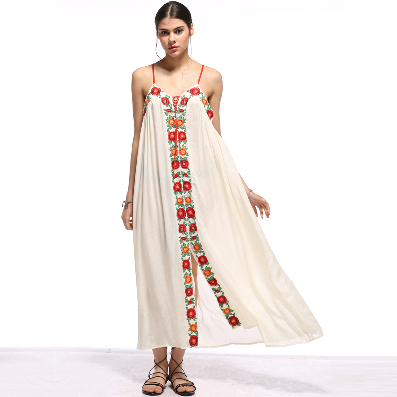 5c6be308911 Aliexpress.com   Buy sexy boho maxi dress 2017 Vintage cotton floral  embroidered white Summer dresses spaghetti strap women dress Vestido Robes  from ...