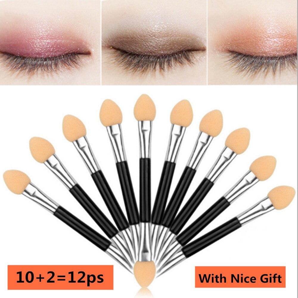 12pcs Eye Shadow Applicator Pro Eye Shadow Sponge Applicator Make Up Portable Eye Shadow Brushes Nail Powder Brush Tool