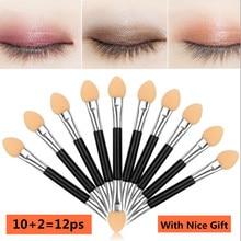 12pcs Eye Shadow Applicator Pro Sponge Make Up Portable Brushes Nail Powder Brush Tool