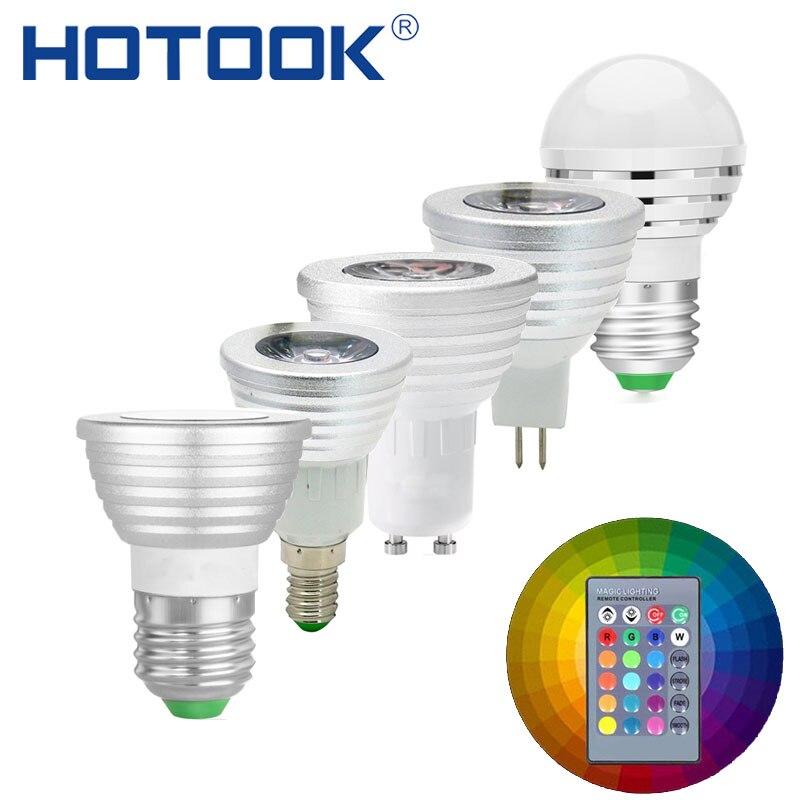LED RGBW RGB Lamp E27 E14 GU10 MR16 Color Changable Bulb bombillas spot light 3W 110V 220V 12V Dimmable Lampada Free shipping