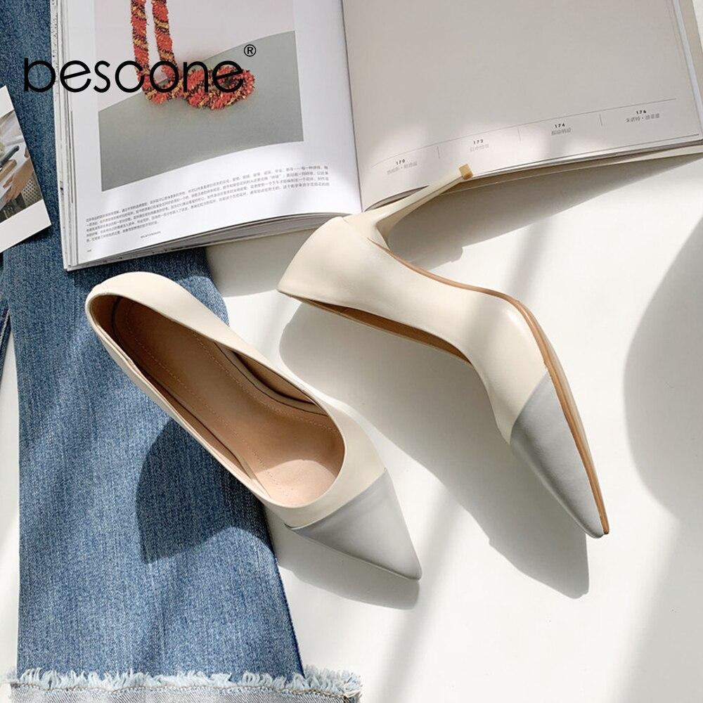 Bout creamy Soirée Chaussures Vache Mode Femme Pour Haute Qualité white Bo55 Pointu Peu Mince Nouveau Sexy Bescone De 2019 Talon En Escarpins Profonde Cuir Printemps Apricot w1qCxSRZ