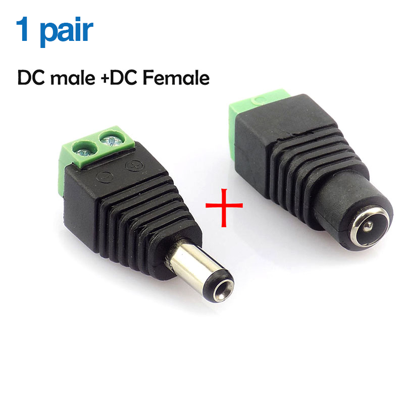 Female And Male DC Power Adapter 2.1mm X 5.5mm Connector BNC Balun Connector For Coax CAT5 To CCTV Surveillance Video Camera