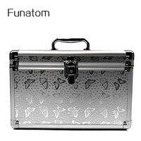 Women Large Capacity Professional Makeup Organizer Cosmetic Box Portable Aluminium Trunk Storage Bag Travel Bolso Mujer
