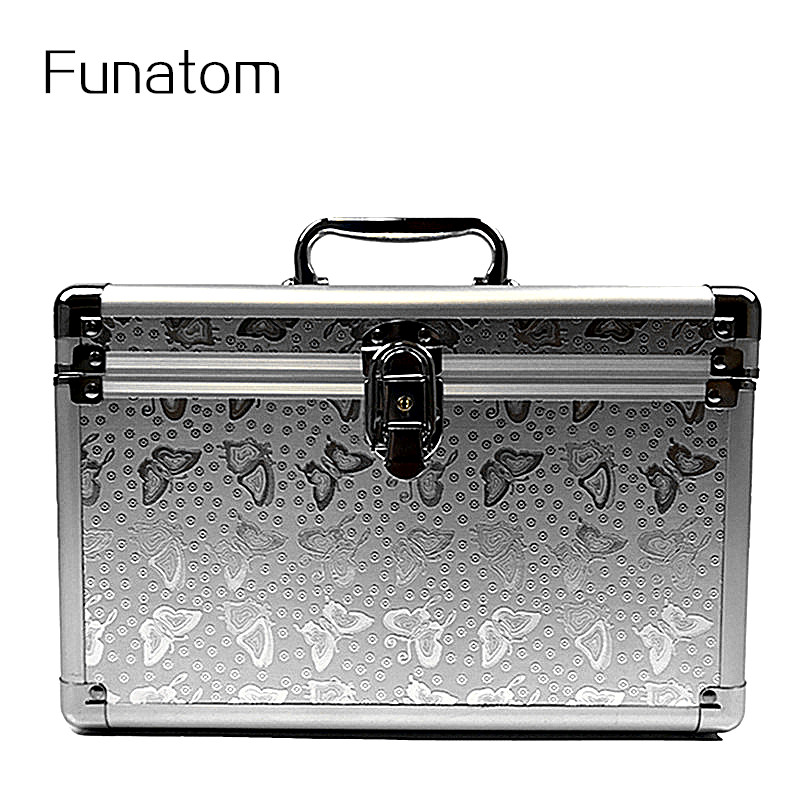 Women Large Capacity Professional Makeup Organizer Cosmetic Box Portable Aluminium Trunk Storage Bag Travel Bolso Mujer Suitcase large capacity suitcase explosion proof travel transport portable safety box storage case bag for dji spark accessories pgytech