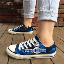 Wen Design Custom Hand Painted Shoes Doctor Who Logo Woman Man's Low Top Blue Canvas Sneakers for Gifts