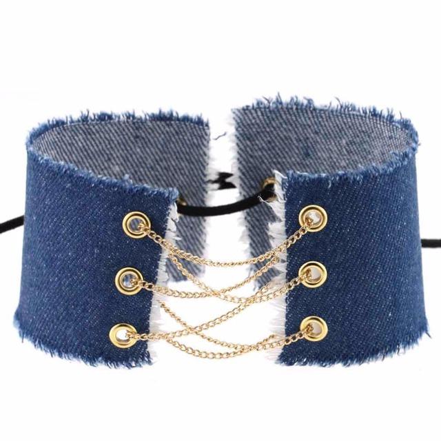 Handmade Denim Choker Necklace