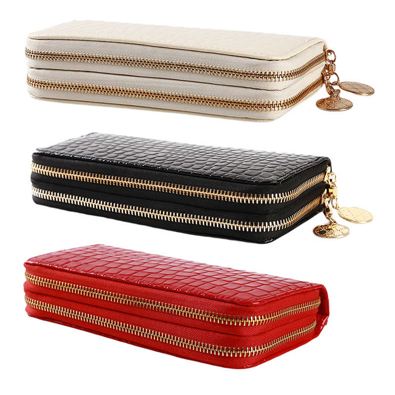 red/white/black Women Double Zipper Wallets Ladies Wallet Fashion Wallet Female Long Design Handbag Phone Bag Hot Sale