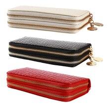 red/white/black Women Double Zipper Wallets Ladies Wallet Fa
