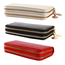 red/white/black Women Double Zipper Wallets Ladies