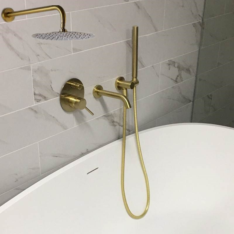 MTTUZK Brass Brushed gold Bathtub faucet With handsprays Hot and Cold Mixer Faucet Set Chrome Wall Mounted Bath Shower Faucet