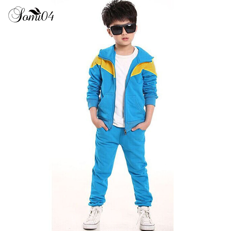 все цены на Children Jogging School Tracksuit Set Hooded Coat + Pants Kids Boy Girl 2018 Spring Autumn Clothes Sports Suit 4 6 8 10 12 Years