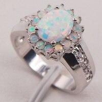 Australia biały Ogień Opal 925 Sterling Silver Kobieta Biżuteria Pierścionek Rozmiar 6 7 8 9 10 11 F578