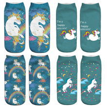 New Hot Women Hosiery 3D Printing Socks Aqua Unicorn Meias Causal Low Cut Ankle Sock Calcetines Christmas Gift Socks