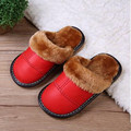 2016 new Autumn and winter children shoes kids genuine leather slippers girls boys non-slip warm indoor cotton slippers