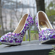 Luxurious Beautiful Bridal Dress Shoes Women High heel party club Shoes Handmade Ladies Purple Crystal Wedding Shoes