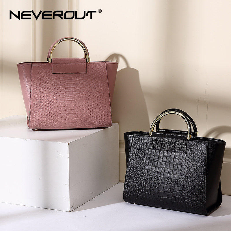 NeverOut Genuine Leather Handbag High Quality Brand Name Bag Women Bags Ladies Solid Handbags Tote Fashion 2 Color Shoulder Sac neverout oil wax style split leather bag for women vintage boston bag shoulder sac 3 color handbags tote zipper tote new handbag