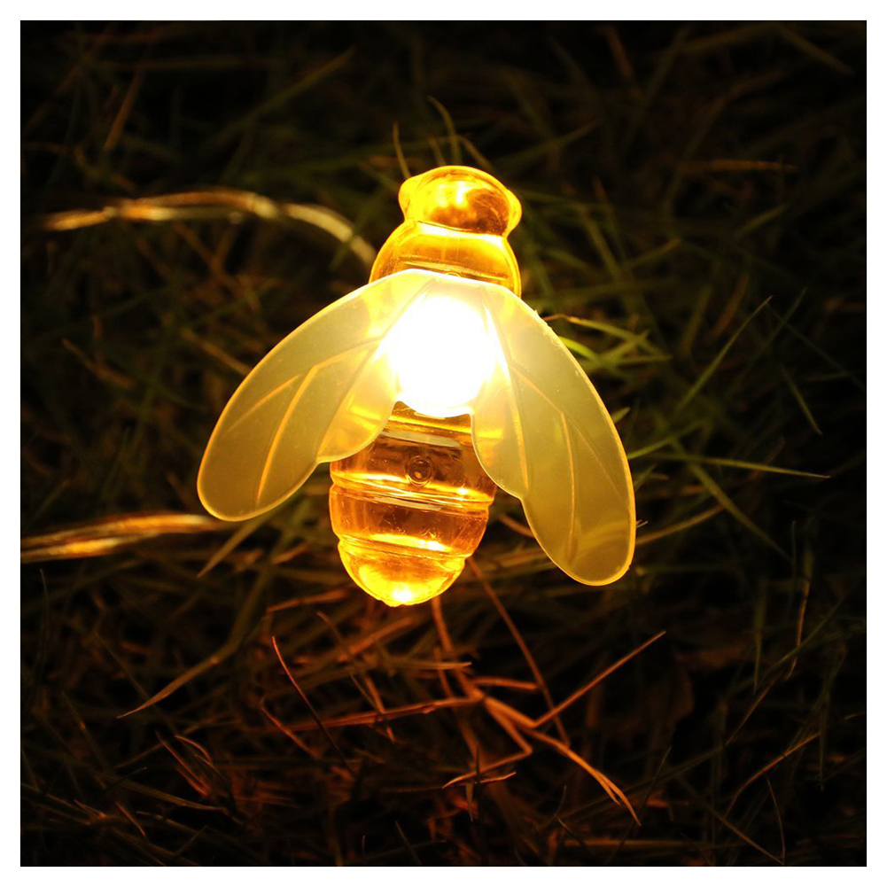 BIFI-Honeybee Fairy String Lights,20 LED Honeybee Battery Power Led String Lights for Party,Wedding,Xmas,Decoration,Gardens,Pa