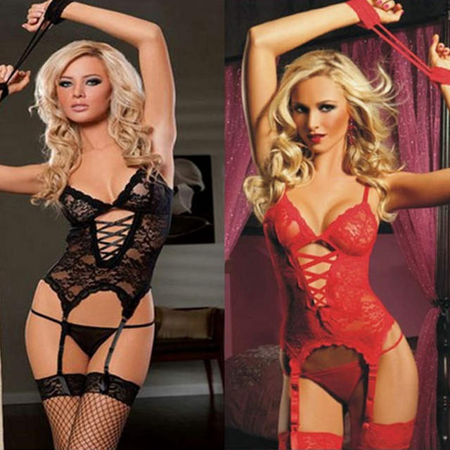 a614cd0cee sexy lingerie Women Racy Lace Hollow Underwear Dress +Thongs+Stockings  lenceria sexy lingerie set