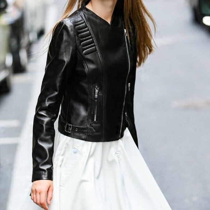 Printemps Marque Moto Veste En Peau Femmes Manteau Cuir Nouveau Automne Luxe Dames De Slim Vêtements Véritable Mouton Noir Fit BwOxqxdT