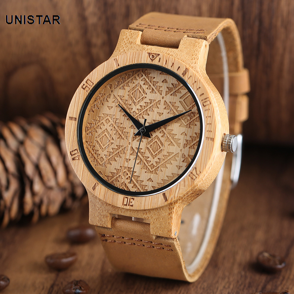 UNISTAR  Handmade Casual Natural Bamboo Wooden Quartz Watches With Double Dial Genuine Leather Band Gift For Men Women With Box