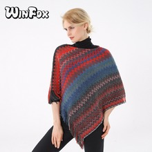 Winfox 2018 New Brand  Winter Women Fashion Multicolor Red Blue Knitted Cardigans Wave Chevron Poncho And Cape For Womens