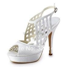 2016 Sexy Sommer Sandalen EP11063-PF Weiß Pumpen Peep Toe Plattform ausschnitte Plattform High Heel Satin hochzeit Pumps schuhe