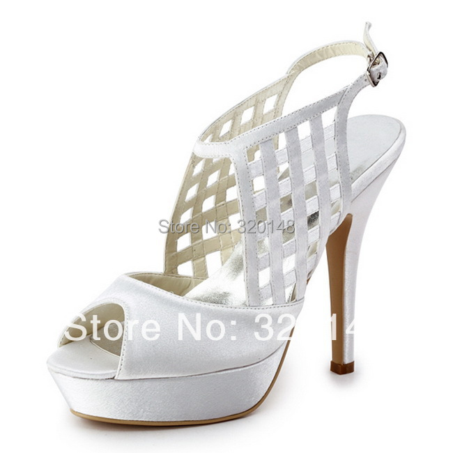 ФОТО Sexy Summer Sandals Women EP11063-PF White Pumps Peep Toe Platform Cut-outs Platform High Heel Satin Wedding party Pumps Shoes