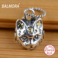 BALMORA Retro Cat Head Pendants for Necklaces 100% Real 925 Sterling Silver Jewelry Women Men Accessories High Quality SY12176