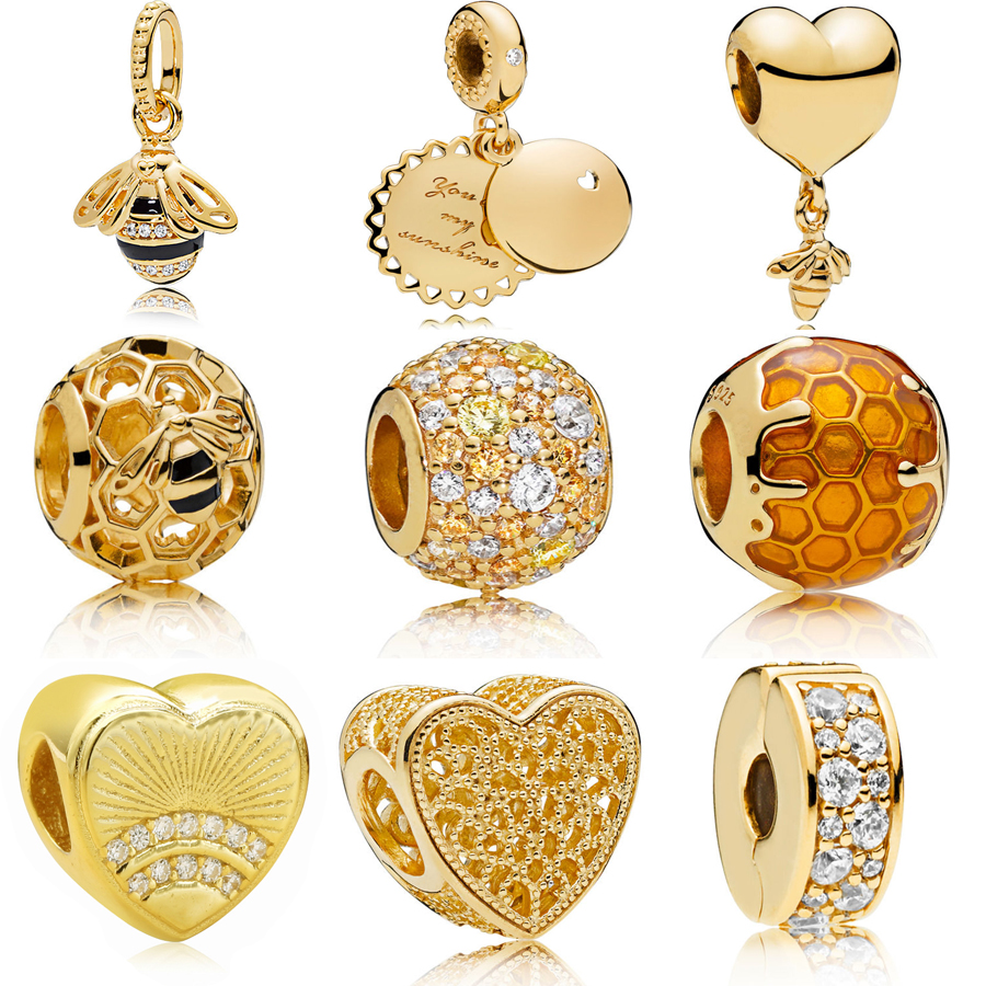 Echt 925 Silber charme anhänger Goldene Bee & Honig Sonnenschein Halskette Anhänger Charme Fit Original pandora Armband Bead DIY Schmuck