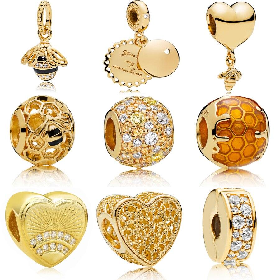 Echt 925 Silber charme anhänger Goldene Bee & Honig Sonnenschein Halskette Anhänger Charme Fit Original panqiou Armband Perlen DIY Schmuck