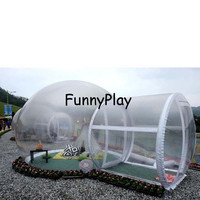 6 person tent 6*4m outdoor camping tent transparent bubble tent with free blower and repair kit,large inflatable tent with rooms