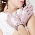 Gours nueva marca de invierno guantes de cuero genuinos para las mujeres ladies negro pantalla táctil de moda guantes de piel de cabra mittens luvas gsl002