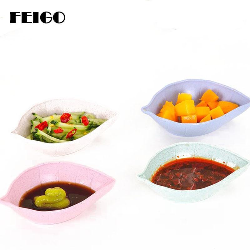 FEIGO 1Pcs Wheat Straw Sauce Dish Leaf Shaped Dinnerware Seasoning Bowls Appetizer Sugar Salt