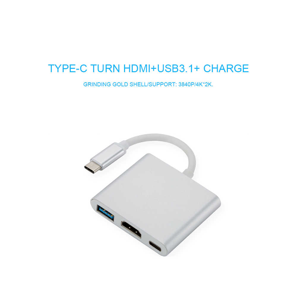 USB-C usb adapter Digital AV Multiport Adapter Type C to HDMI USB 3.0 Charging Cable Adapter USB-C 3.1 Converter for Macbook