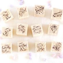Купить с кэшбэком 12pcs cute cat design DIY scrapbook wooden Stamps set