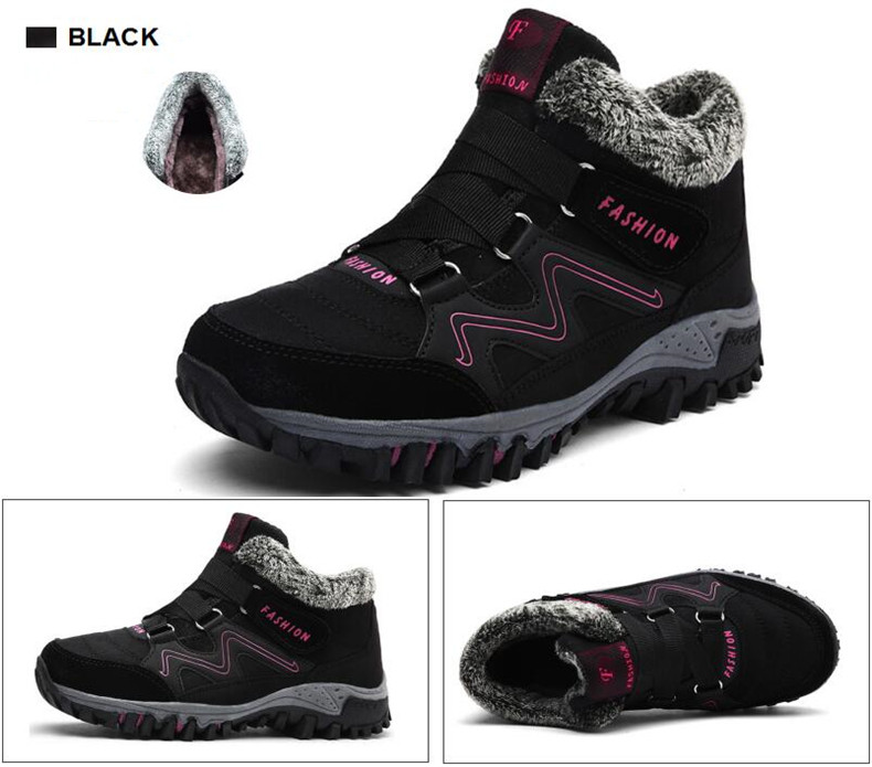 STS BRAND 2019 New Winter Ankle Boots Women Snow Boots Warm Plush Platform Boot Fashion Female Wedge Shoes Snow Waterproof shoes (1)