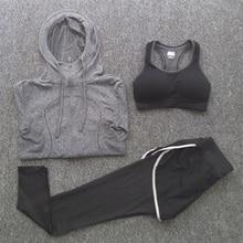 Women 3 Pieces Set Fitness Yoga Sports Sets Long Sleeve T Shirts Running Jacket Sports Bras Slim Pants Leggings Sportwear