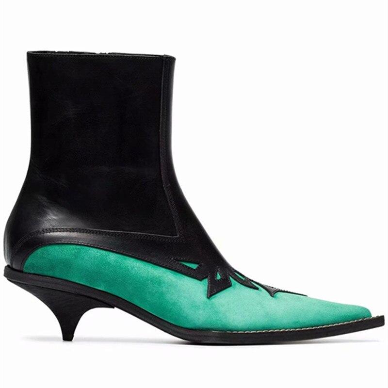 Crving Zapatos Green Las Suede Dedo Mujer Pie Negro Botines Verde Para 2019 Del Cuero Cremallera Puntiagudo Talones De Mujeres SwT4d4q