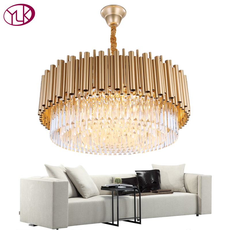Youlaike Round Modern Crystal Chandelier Luxury Living Dining Room Gold Hanging lamp AC110-240V LED Lustres De Cristal new modern chandelier led crystal lamps long pendant chandelier lustres de cristal kronleuchter ac110 240v stair chandelier