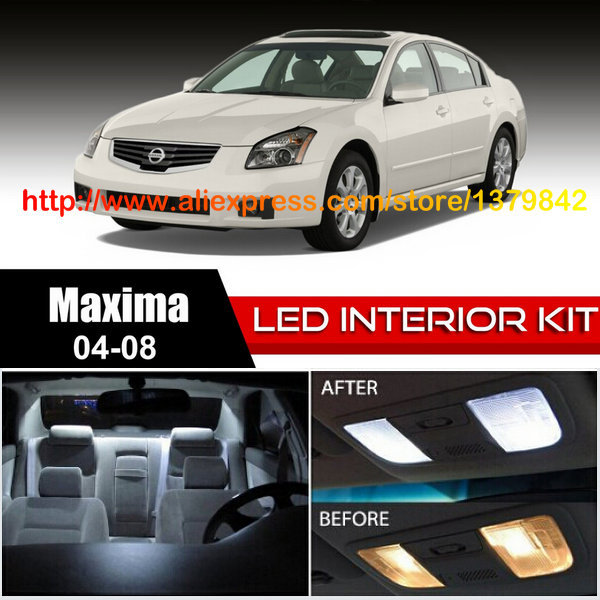 Free Shipping 18Pcs/Lot car-styling 12v Xenon White/Blue Package Kit LED Interior Lights For 04-08 Nissan Maxima