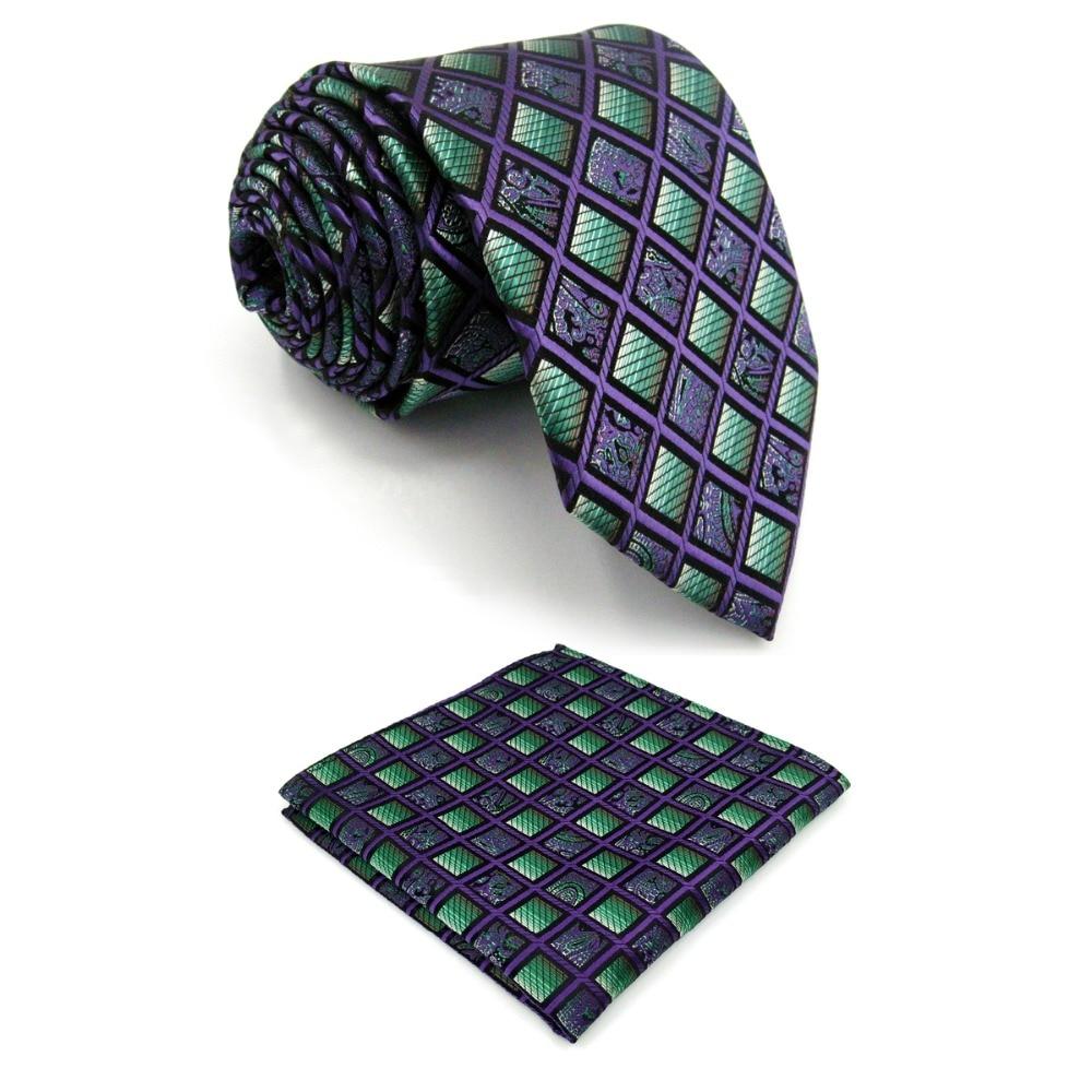 A10 Purple Green Checkes Silk Brand New Fashion Classic Mens Necktie Set Tie extra long size Hanky 63