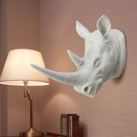 Best Promotion Resin Exotic Rhinoceros Head Ornament White Animal Statues Crafts for Home Hotel Wall Hanging Decoration Gift