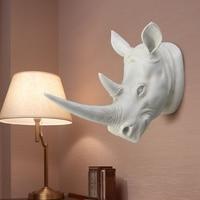 Najlepsza Promocja Żywica Egzotyczne Nosorożec Ozdoba Głowy Biały Rzeźb Zwierząt Rzemiosła do Dekoracji Domu Hotelu Ścianie Wisi Prezent