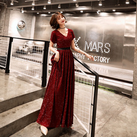 Robe de Soiree Evening Dress 2019 Wine Red V Neck Bling Fabric Evening Gowns Floor length Party Dresses LF403